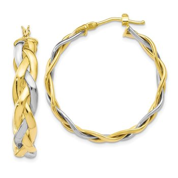 Leslie's 10K Two-Tone Polished Braided Hoop Earrings