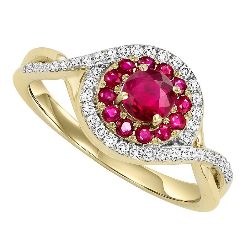 Bridal Bells 14K Ruby & Diamond Ring