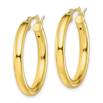 Sterling Silver Gold-Tone Polished 3x25mm Hoop Earrings