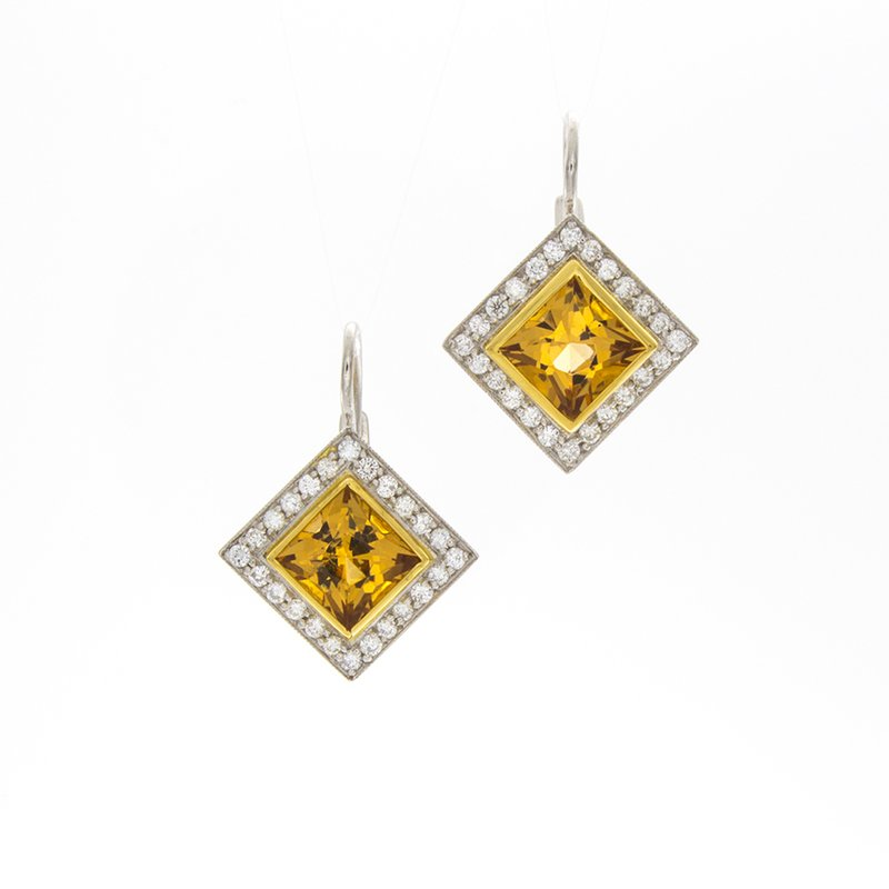 William Levine PRINCESS CUT CITRINE & DIAMOND EARRINGS