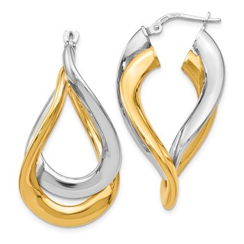 Leslie's Sterling Silver Gold-plated Polished Twisted Hoop Earrings