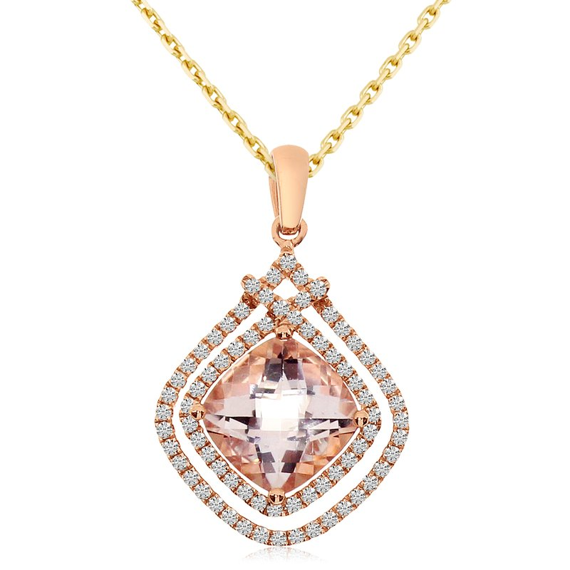 Color Merchants 14k Rose Gold Cushion Morganite and Diamond Two Row Pendant