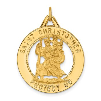 14k Solid Polished/Satin Round Cut-out St. Christopher Medal