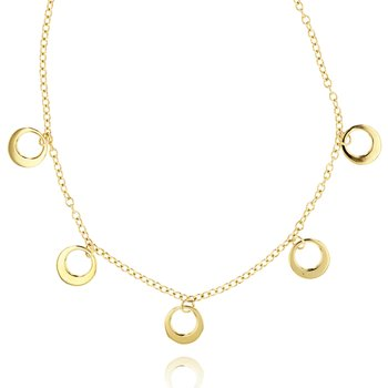 Yellow gold Affair station crescent necklace