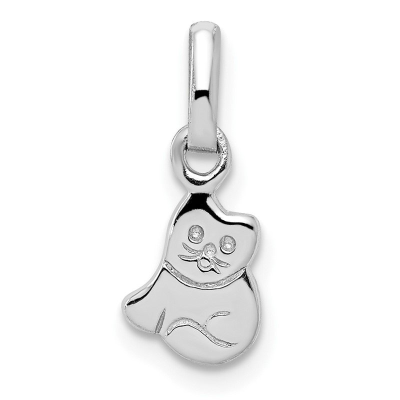 Quality Gold Sterling Silver RH Plated Child's Polished Kitty Cat Pendant