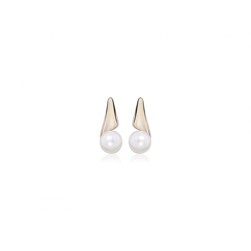 LARUS Jewelry Rose Gold and Pearl Drop Earrings