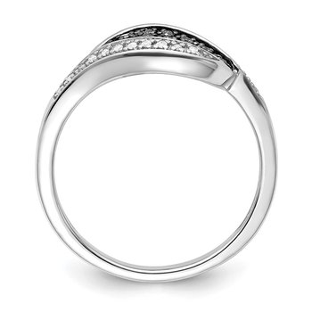 Sterling Silver Rhod Plated Champagne Diamond Fancy Marquise Ring