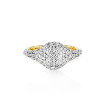 Yellow gold diamond Affair pave signet ring