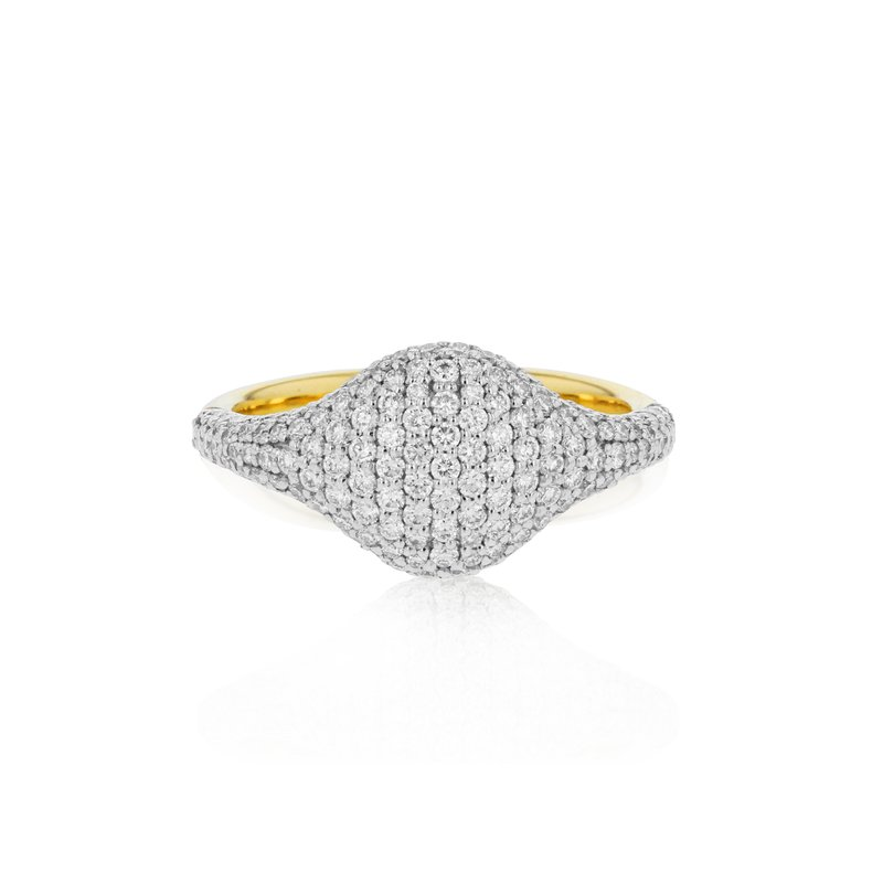 Phillips House Yellow gold diamond Affair pave signet ring