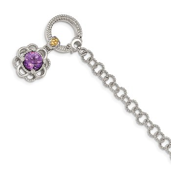 Sterling Silver w/ 14K Accent Amethyst & Diamond 7.5in Toggle Bracelet