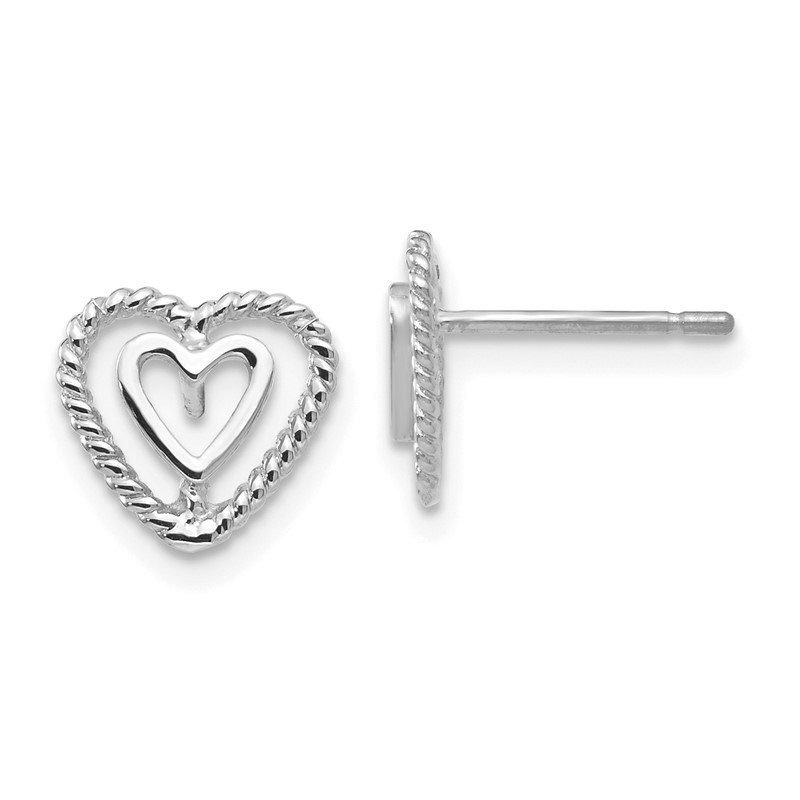 Quality Gold 14k White Gold Heart Earrings