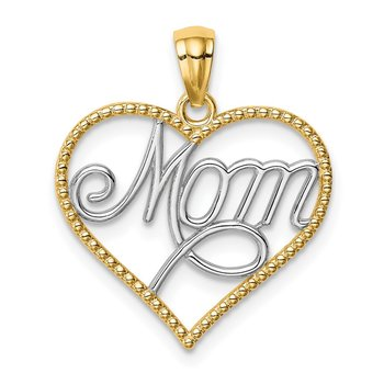 14K w/Rhodium MOM in Heart Pendant