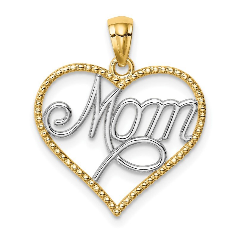 Quality Gold 14K w/Rhodium MOM in Heart Pendant