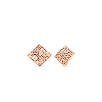 #27672 Of 18Kt Gold Square Earrings With Diamonds
