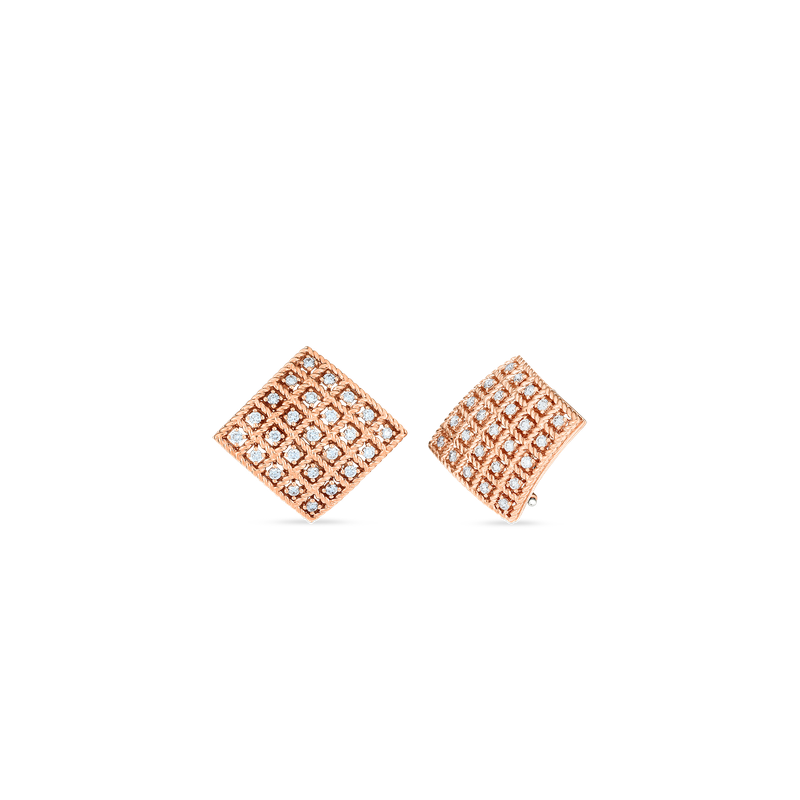 Roberto Coin  #27672 Of 18Kt Gold Square Earrings With Diamonds