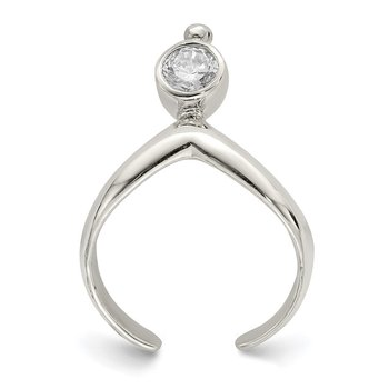 Sterling Silver CZ Dangle Toe Ring
