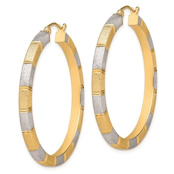 Sterling Silver Rhodium-plated Vermeil Diamond-cut 3x40mm Hoop Earrings