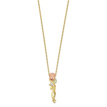 10k Tri-color Black Hills Gold Diamond Rose Necklace