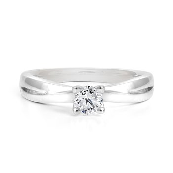 Diamond Solitaire Engagement Ring with Band Details