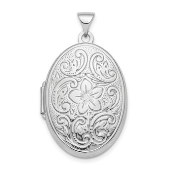Sterling Silver Rhodium-plated Polished 26mm Patterned Oval Locket