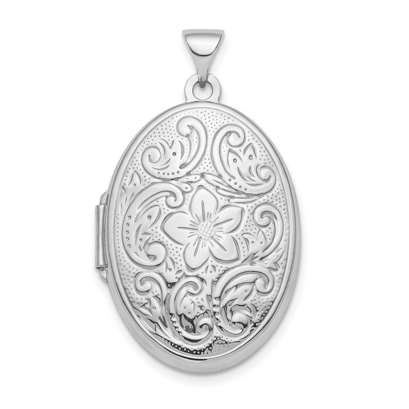 Quality Gold Sterling Silver Rhodium-plated Polished 26mm Patterned Oval Locket