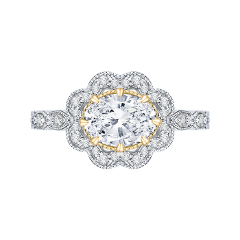 18K Two-Tone Gold Oval Diamond Halo Engagement Ring (Semi-Mount)