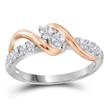 14kt White Two-tone Gold Womens Round Diamond 2-stone Bridal Wedding Engagement Ring 1-1/2 Cttw
