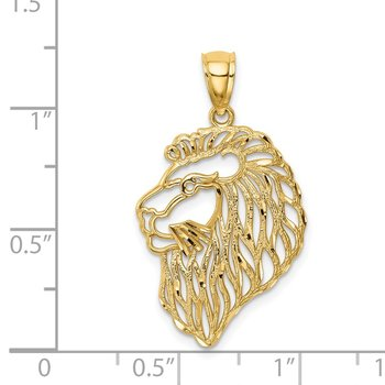 14K Diamond-Cut Lion Profile Pendant