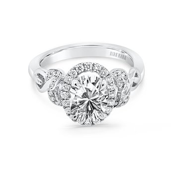 Oval Leaf Halo Diamond Engagement Ring
