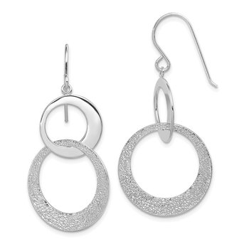 Sterling Silver Textured Polished Interlocking Circles Earrings