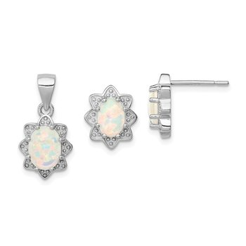 Sterling Silver Created Opal Pendant and Earring Set