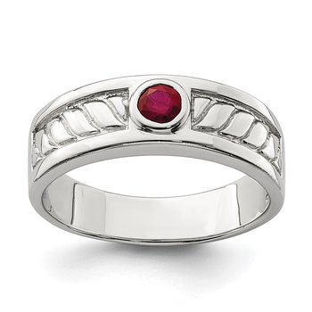 Sterling Silver Men's Ruby Ring