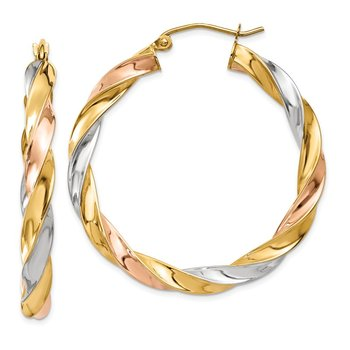 14k Tri-color Light Twisted Hoop Earrings