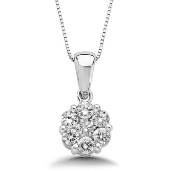 Pave set Diamond Cluster Pendant in 14k White Gold (7/8 ct. tw.)