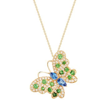 "Beautiful & colorful Butterfly necklace 76 Diamonds 0.36C, 2 Blue Sapphires 0.49C & 14 Green Garnet 0.55C 18"" chain"