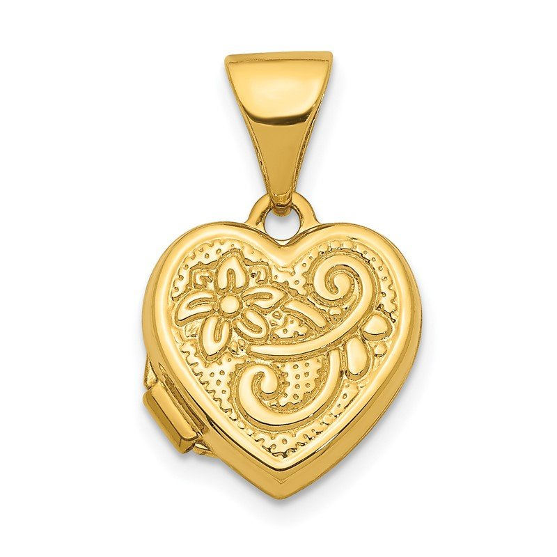 Quality Gold 14K 11mm Floral Heart Locket Pendant