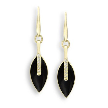 Black Marquise Wire Earrings.18K -Diamonds