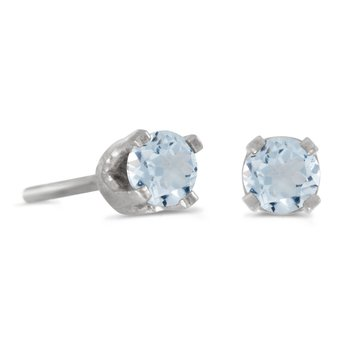 3 mm Petite Round Genuine Aquamarine Stud Earrings in 14k White Gold