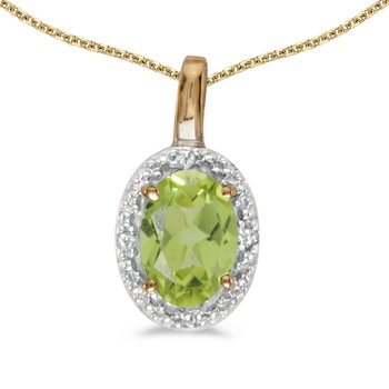 14k Yellow Gold Oval Peridot And Diamond Pendant