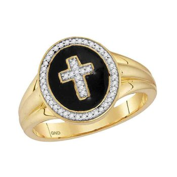 10kt Yellow Gold Mens Round Diamond Cross Crucifix Fashion Ring 1/6 Cttw