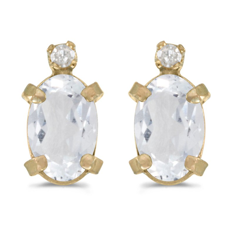 Color Merchants 14k Yellow Gold Oval White Topaz And Diamond Earrings