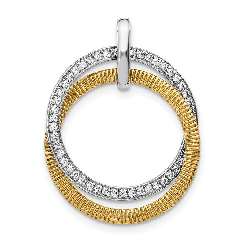 Quality Gold 14k Two-tone 1/4ct. Diamond Entwined Circles Pendant