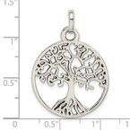 Quality Gold Sterling Silver Polished Tree of Life Pendant