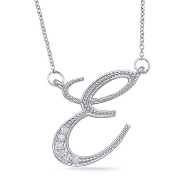 White Gold Diamond Initial E Pendant