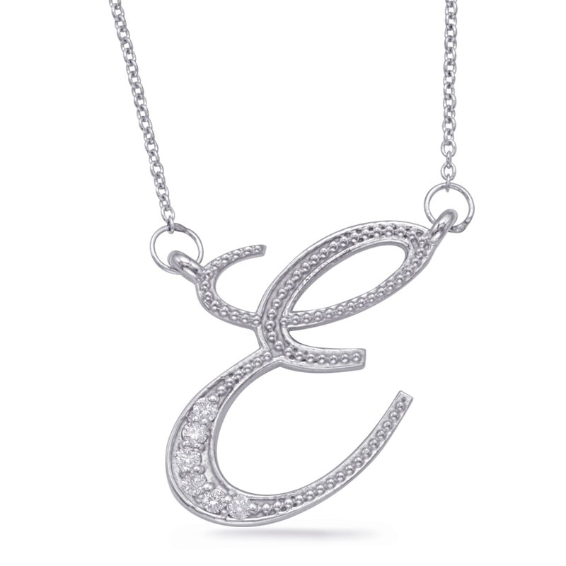 S. Kashi  & Sons White Gold Diamond Initial E Pendant