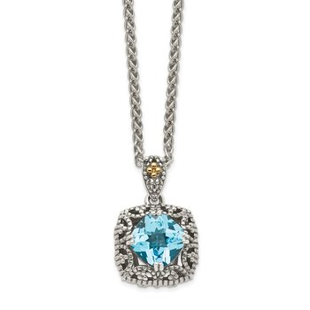 Sterling Silver w/ 14K Accent Antiqued Light Swiss Blue Topaz Necklace