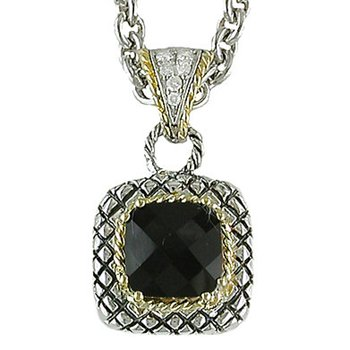 18kt and Sterling Silver Cushion Smokey Quartz and Diamond Button Pendant with Chain