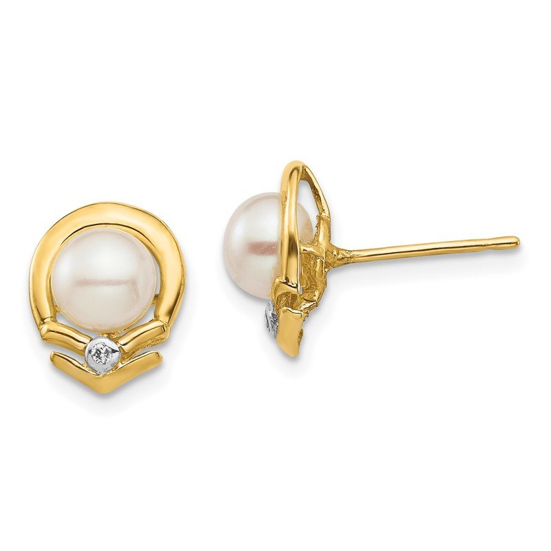 Quality Gold 14K 5-6mm White Button FW Cultured Pearl .02ct Diamond Post Earrings