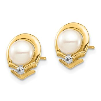 14K 5-6mm White Button FW Cultured Pearl .02ct Diamond Post Earrings