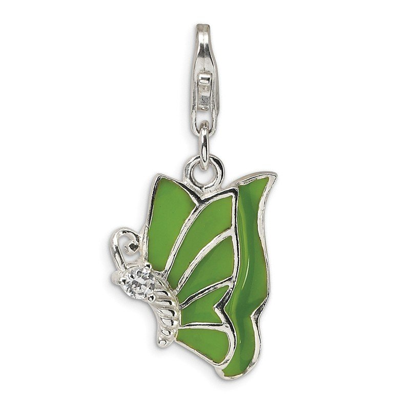 Quality Gold SS RH Green Enameled & CZ Butterfly w/Lobster Clasp Charm